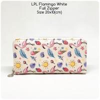dompet wanita lopolo full zipper flamingo white dompet panjang