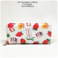 dompet wanita full zipper lopolo strawberry white dompet panjang