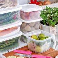 Box kotak daging sayur buah kulkas stok rapih putih ready