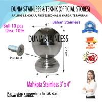 "Mahkota Stainless Bola 3""x4"" aksesories stainless steel interior"