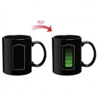 LINGXI Magic Mug Cangkir Sensitif Suhu Motif Baterai 400ml - Black