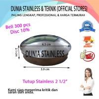 """Tutup stainless steel 2 12"""" aksesories stainless steel interior"""