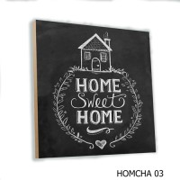Wall Decor Chalkboard Home Family MDF 20x20cm Poster Kayu Quotes Home