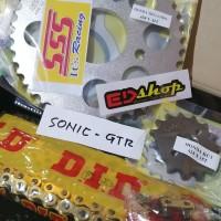 gear SET 428 SSS rantai DID HD SONIC SUPRA GTR 150 NMP RACING GER GOLD