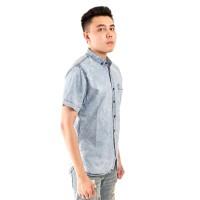 Denim Pendek Pria Kemeja Casual Slim Jeans Dongker Gradasi Biru