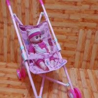 Mainan Stroller Besi +Ada Boneka   mainan dorongan bayi