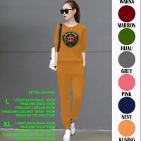Setelan Oblong Wanita Celana Panjang Lengan Panjang Motif Payet 104 - Kuning, L