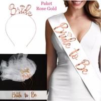 bando bride veil sirkam selempang paket bridal shower 3p02 - Rosegold