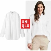 Uniqlo WOMEN Extra Fine Cotton Stand Collar Long Sleeve kemeja tangan