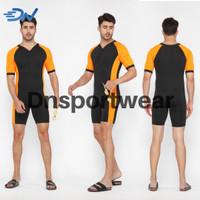 Baju renang pria jumbo model diving celana renang cowok - Orange, S