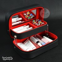 Beautycase / Case makeup / Travel Tas Kosmetik Pouch - Hitam Merah