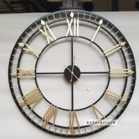 Jam Dinding besi angka romawi gold diameter 80cm