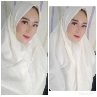 Hijab Kerudung Segi Empat Polos Fashion Wanita Putih Sadia Voal