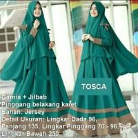 Gamis Syari ( Plus Jilbab ) FS0287 - HIJAU TOSCA / Setelan Baju Muslim