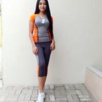 Original Stelan Pakaian Olahraga Wanita Dan Celana Orange - Orange, M