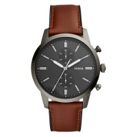 Fossil FS5522 Townsman Chronograph Mens Grey Dial Brown Leather Strap
