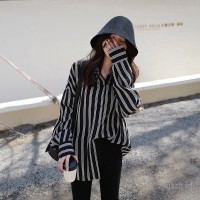 Tunik New autumn long-sleeved loose large size student slim striped