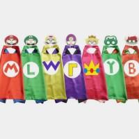 Kostum Cape Mask Super Mario Luigi Jubah Pentas Pesta Ulang Tahun Anak