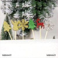Set 6Pcs Hiasan Topper Kue dengan Gambar Motif Bernuansa Natal untuk