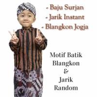 Setelan Baju Surjan Lurik Jarik Wiru Anak + Blangkon Jogja Putihan