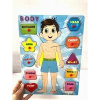 Mainan Puzzle Kayu Knob Anatomi Badan / Mainan Edukasi Puzzle Knob