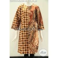 Batik Dress Dual Motif Elegan Size XL, Tapa Krah Lengan 7/8 DR9721PB