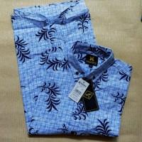kemeja motif lengan pendek warna biru laut motif daun harga murah