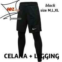 Double celana pendek dan manset panjang olahraga sport nike black