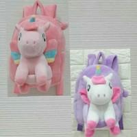 Tas Ransel Plus Boneka Unicorn Anak Sekolah uk.28cm import kado