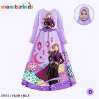 Baju Muslim Anak Perempuan Gamis Frozen Elsa Ungu 3-in-1 - 7-8 tahun