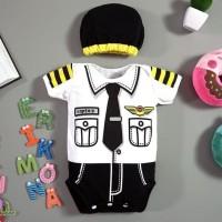 Original Baju Bayi Laki Laki Jumper Bayi Lucu Profesi Pilot Captain -