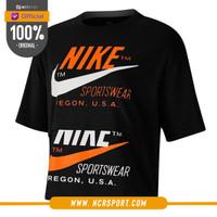 Pakaian Sneakers Nike Wmns Sportswear Short Sleeves Top Black Original