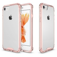 iPhone 7 Air Hybrid Clear Case Rose Gold softcase back tempered glass
