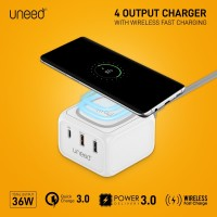 UNEED Power Station Fast Wireless Charger 10w + PD + QC 3.0 - UWA231