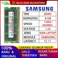 RAM LAPTOP SAMSUNG DDR3 8GB 12800/1600MHz ORIGINAL RAM SODIMM 1.5v 8GB