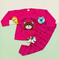 Setelan Panjang Baju Tidur anak perempuan bordir bear stroll
