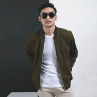 Jaket Canvas Premium Green Army / Jaket Pria / Jaket Bomber