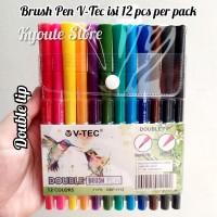 V-tec Brush Pen Dual Tip Set 12 Lettering Kaligrafi Murah