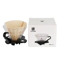 Latina Spiral V60 pyrex glass coffee dripper 1-2cups+ filter 40P