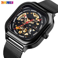 Jam Tangan Pria Automatic Skeleton Original SKMEI 9184 Anti Air HITAM