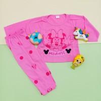 Setelan Baju Tidur Lengan Panjang motif Minnie Bordir