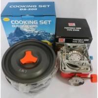 Paket Alat Masak Cooking Set dan plus Kompor Camping Nesting DS SY 200