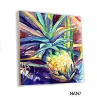 Poster Art Buah Nanas MDF 20x20cm Hiasan Pajangan Dinding Kayu Fruit