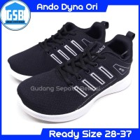 Sepatu Sekolah Running Anak Ando Dyna hitam putih kets Size 33-40