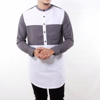 Gamis Kurta Modern Premium /Baju Koko pakistan MIDDLE White Kombi Grey