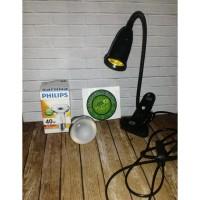 Lampu Reptile/Lampu UVA-Penghangat Reptile/Sulcata/Jepit+ 1set