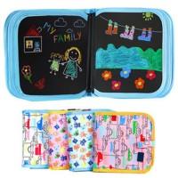 Buku papan tulis hijau anak, Buku coret-coret erasable anak - Animal Ungu
