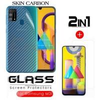 Tempered Glass Samsung M31 Paket Back Skin Carbon Transparant