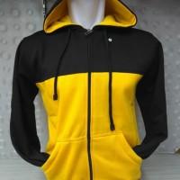 (PROMO) Jaket Hoodie Zipper Resleting Hitam Kuning