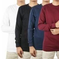 Kaos Polos Panjang Lengan ( RIB/KARET) 100% Cotton Combed 30S Pria